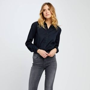 Button Down Navy Blue Top